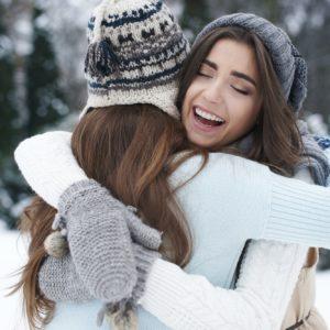 Winter hugs of the best friends